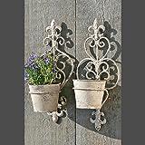 Vasi da fiori con supporto a parete set di 2vaso per piante decorativa da giardino, in metallo con finitura anticata Finishing
