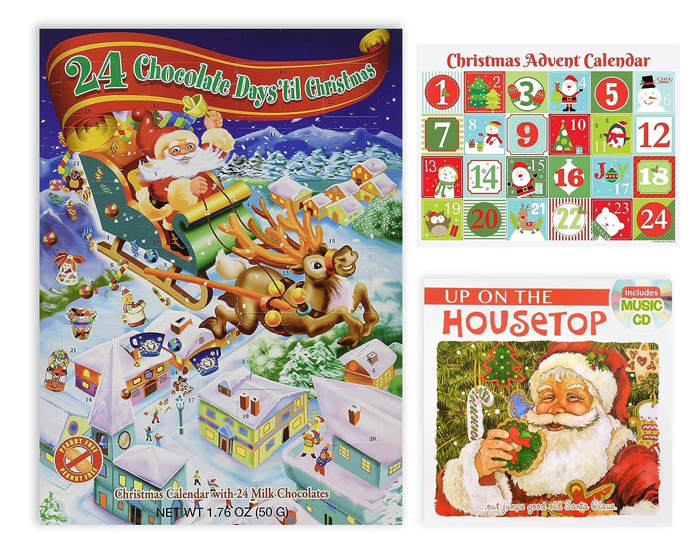 Amazon.com: Holiday Advent Calendar Chocolates for Christmas, 24 Chocolate  Days til' Christmas, Countdown Chocolate Calendar for Kids, Season Treats,  ...