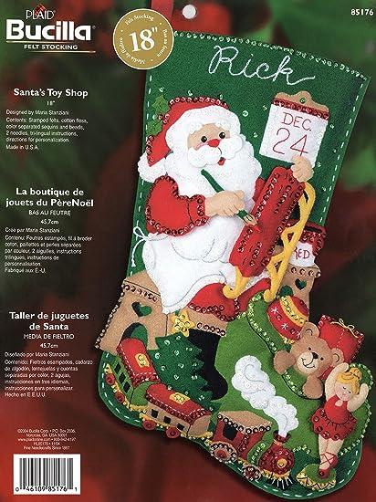 Bucilla Felt Applique Stocking Kit Santas Toy Shop