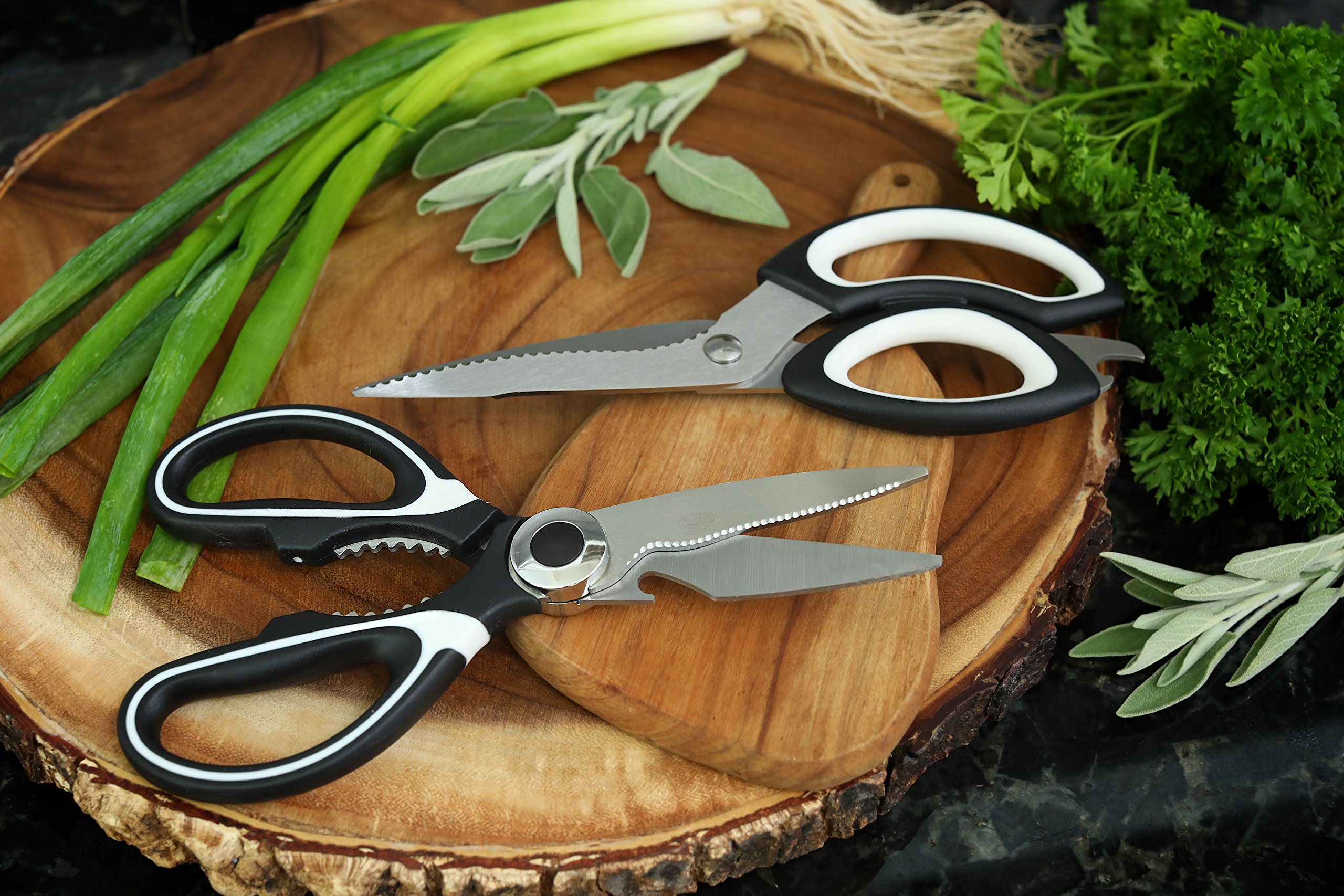 Professional Kitchen Shears (2-Piece Set) Heavy-Duty Scissors | Ultra-Sharp Blades, Ergonomic Grip | Multifunctional Use | Perfect For Cutting Poultry, Chicken, Vegetables, Meat, Fish, Herbs by Prime Kitchen Solutions (Image #5)