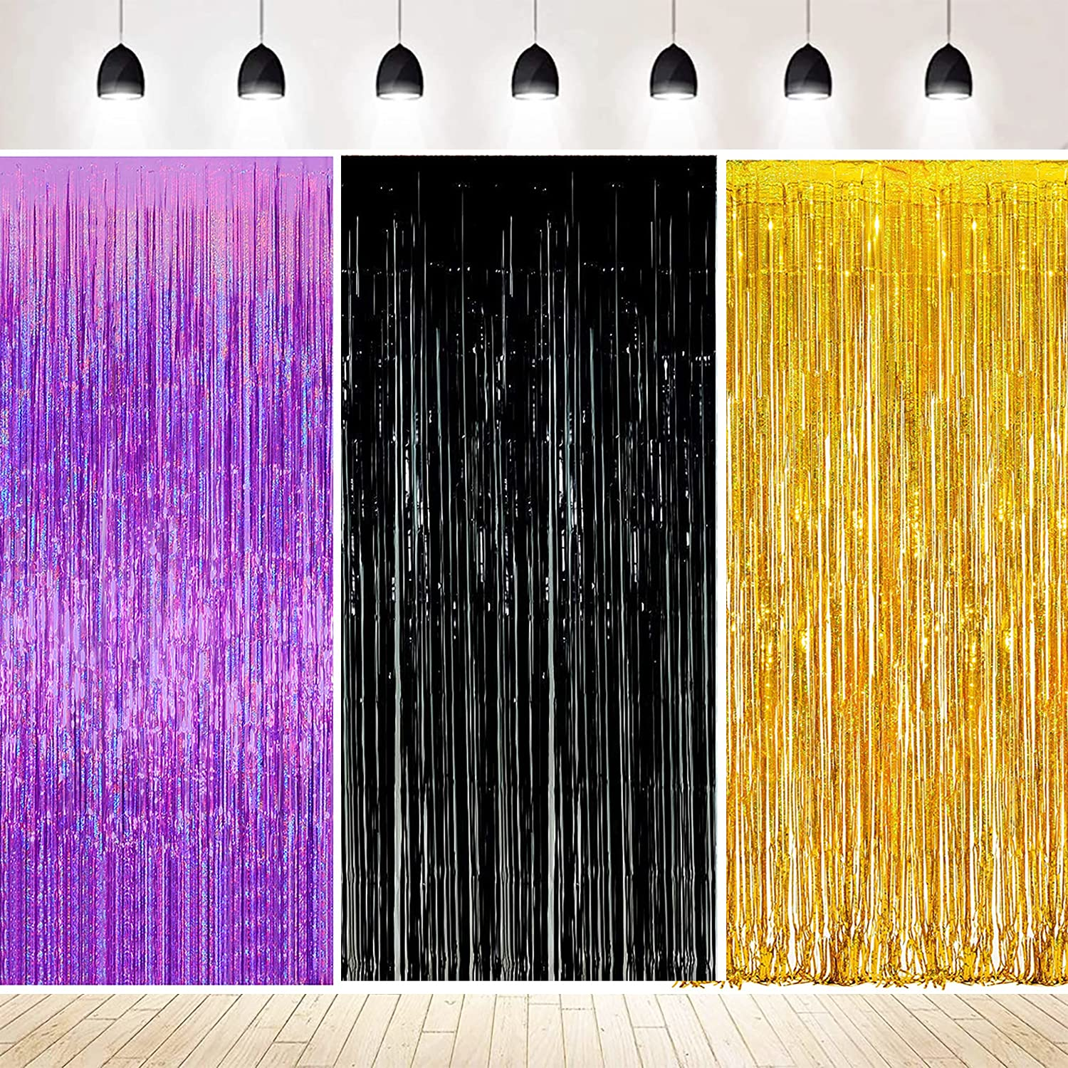 Birthday Decorations Purple Gold for Women Qian's Party 2021 Graduation Decorations Purple Gold Black Foil Fringe Curtains Backdrop Sparkle Metallic Foil Curtains for Purple 2021 Graduation Party Photo Booth Props Decorations