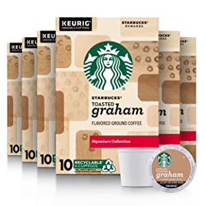 Starbucks Flavored K-Cup Coffee Pods — Toasted Graham for Keurig Brewers — 6 boxes (60 pods total)