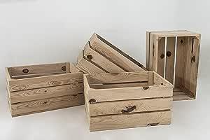 Set 4 Cajas de Madera Pino Sam, Natural, Beige, Cajas Almacenamiento. 49x31x24cm. Incluye Imán Personalizable de Regalo.