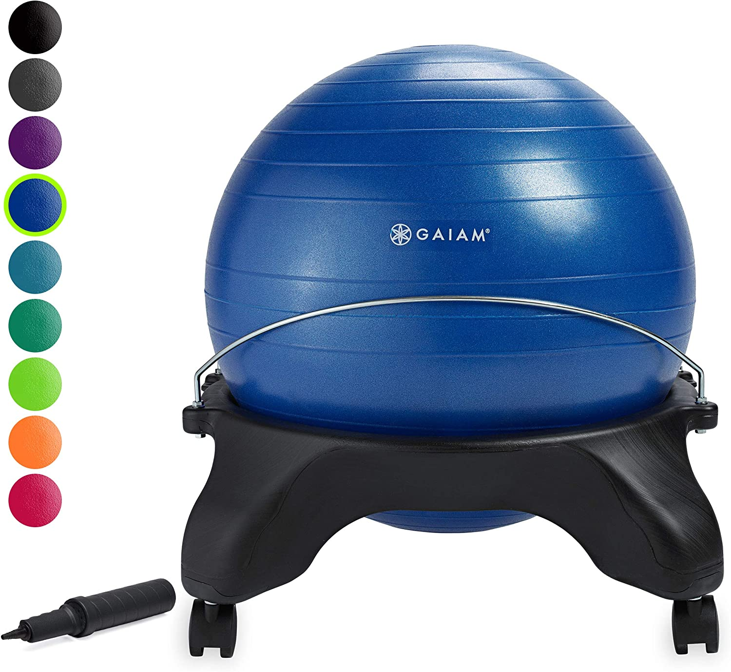 Amazon Com Gaiam Classic Backless Balance Ball Chair Exercise Stability Yoga Ball Premium Ergonomic Chair For Home And Office Desk With Air Pump Exercise Guide And Satisfaction Guarantee Blue Sports Outdoors