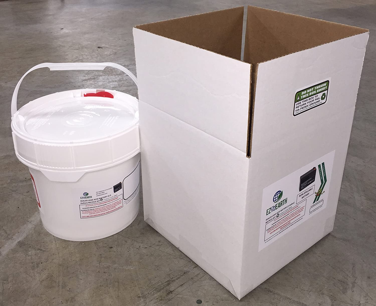 Mail-Back Recycle Kit for Lead Acid Batteries EZ on the Earth Lead Acid Battery Recycling Kit 2.0 Gallon Battery Recycling Pail Pre-Paid