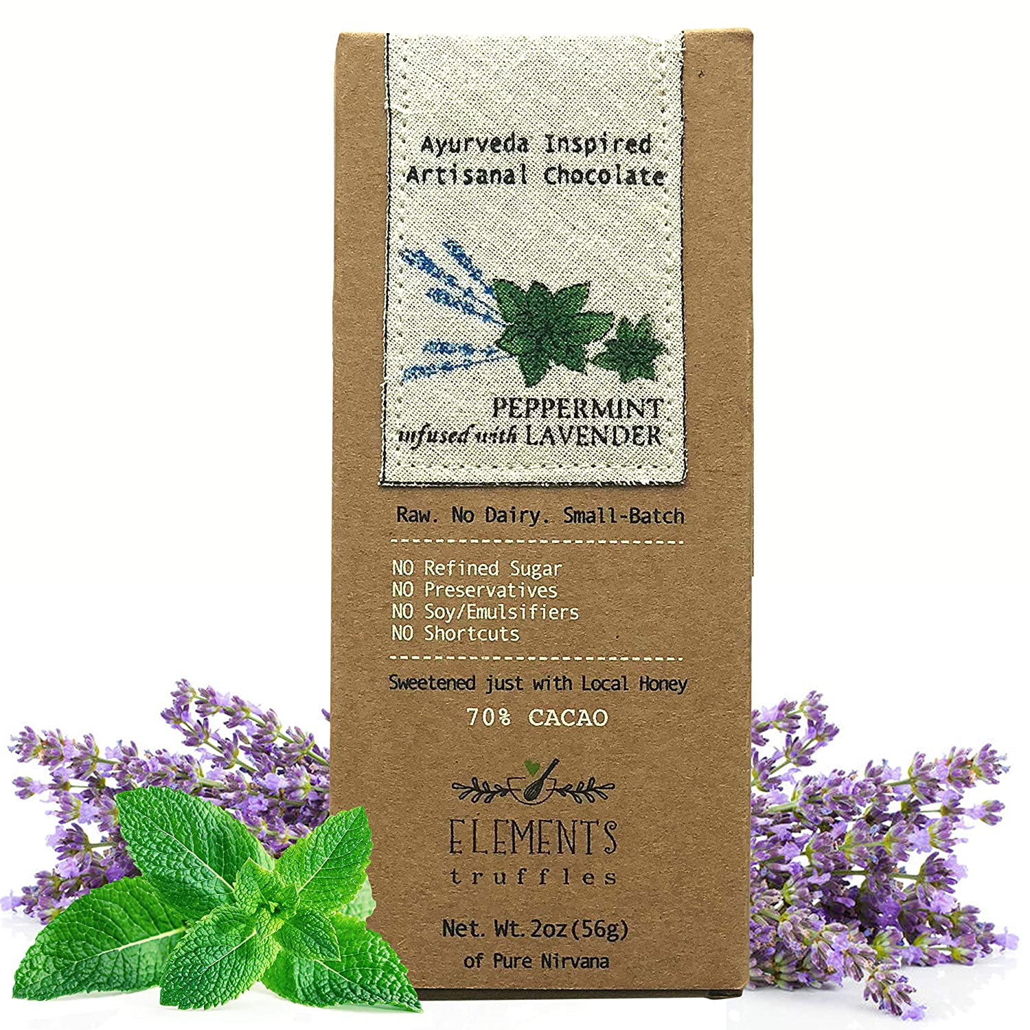 Elements Truffles Peppermint Bar with Lavender Infusion - Dairy Free Chocolate Bar - Paleo, Gluten Free, Non-GMO, Raw & Organic Chocolate Bar - ...