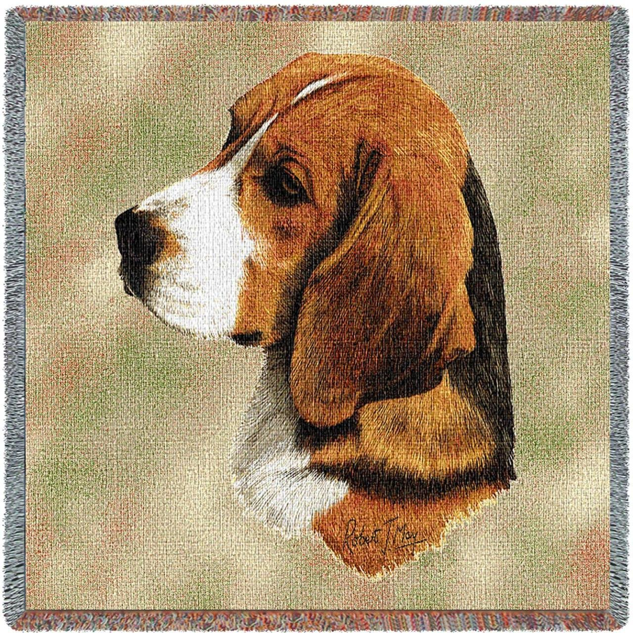 Pure Country 1132-LS Beagle Pet Blanket, Canine on Beige Background, 54 by 54-Inch