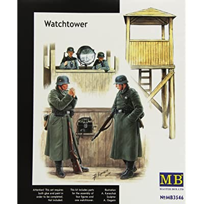 Master Box Watch Tower with 4 Figures Figure Model Building Kits (1:35 Scale): Toys & Games