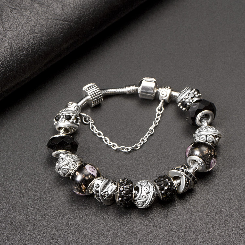 A TE® Bracelet Charms Noir Femmes Rêve Fascinant Cadeau #JW-B111 ATE