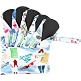 Wegreeco Bamboo Reusable Sanitary Pads (New Pattern) - Cloth Sanitary Pads, Cloth Pads, Reusable Menstrual Pads - 5 Pack Pads, 1 Cloth Mini Wet Bag Bonus (Medium, Dynamic )
