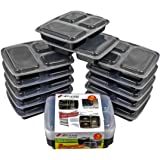 Xland Canada 3 Compartment Food Bento Lunch Boxes with lids, Meal Prep Food Containers, Stackable Food Saver and Storage Containers for Portion Control, BPA Free, Disposable, Microwave and Dishwasher Safe (10 Pack,32 oz)