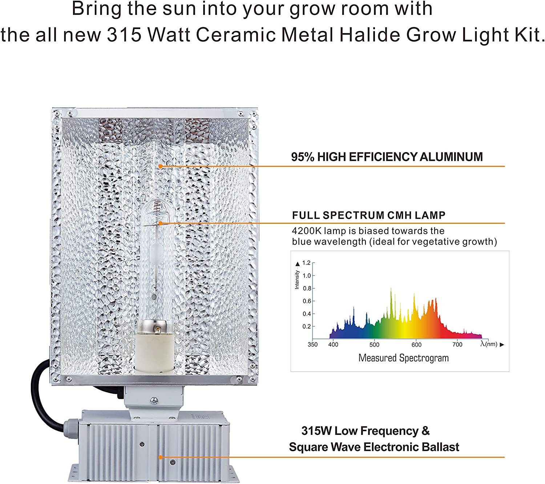 TopoGrow 315W CMH CDM Grow Light Kit W//4200K Bulb/& Horizontal Ballast 120V-240V/&Enclosed Reflector 315W Enclosed Kit //4200K