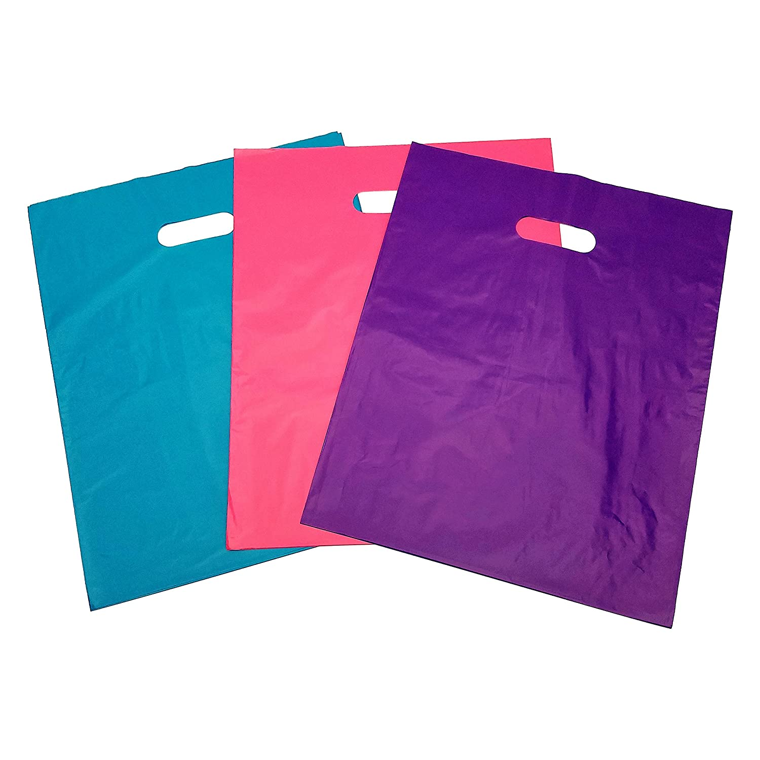 Shopping Bags, 120 ct, 12 X 15, Merchandise Bags with Handles, Boutiques, Stores, Clothing Consultants (40-Pink, 40-Purple, 40-Teal Bags Per Pack)