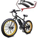 "ECOTRIC Electric Powerful Bicycle 26"" Fat Tire Bike 500W 36V/12AH Battery EBike Moped Snow Beach Mountain Ebike Throttle & Pe"