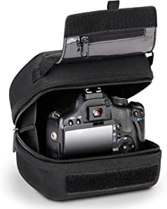 USA GEAR Hard Shell DSLR Camera Case (Black) with Molded EVA Protection, Quick Access Opening, Padded Interior and Rubber Coated Handle-Compatible with Nikon, Canon, Pentax, Olympus and More
