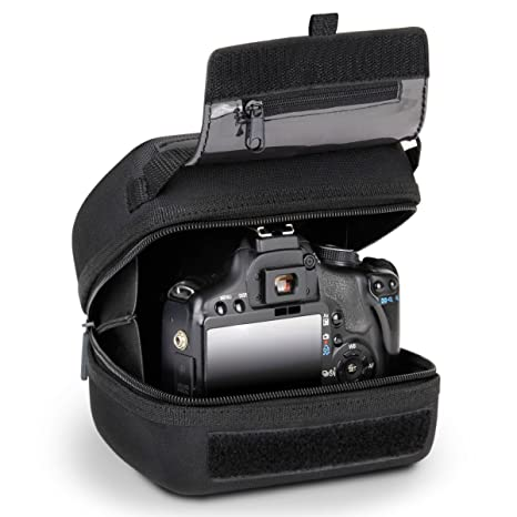 USA GEAR Hard Shell DSLR Camera Case (Black) with Molded EVA Protection, Quick Access Opening, Padded Interior and Rubber Coated Handle-Compatible ...