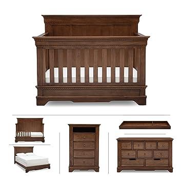 Baby Nursery Furniture Set In Brown Antique U2013 Convertible Crib, Dresser,  Chest, Changing