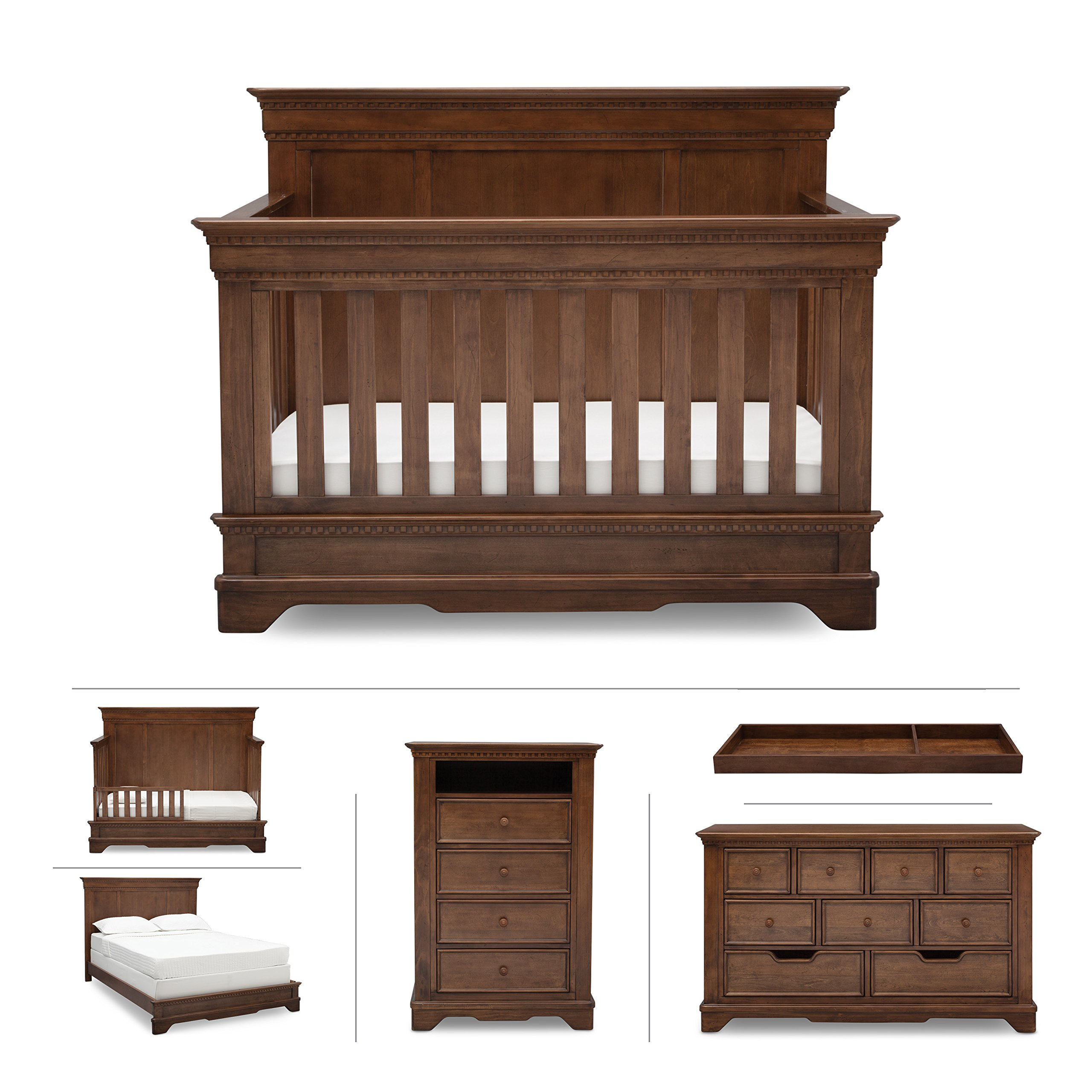 Baby Nursery Furniture Set in Brown Antique – Convertible Crib, Dresser, Chest, Changing Top, Toddler and Full Size Conversions – 6 Piece Simmons Tivoli Collection