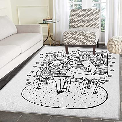 Amazoncom Book Rugs For Bedroom Cartoon Style Hand Drawn