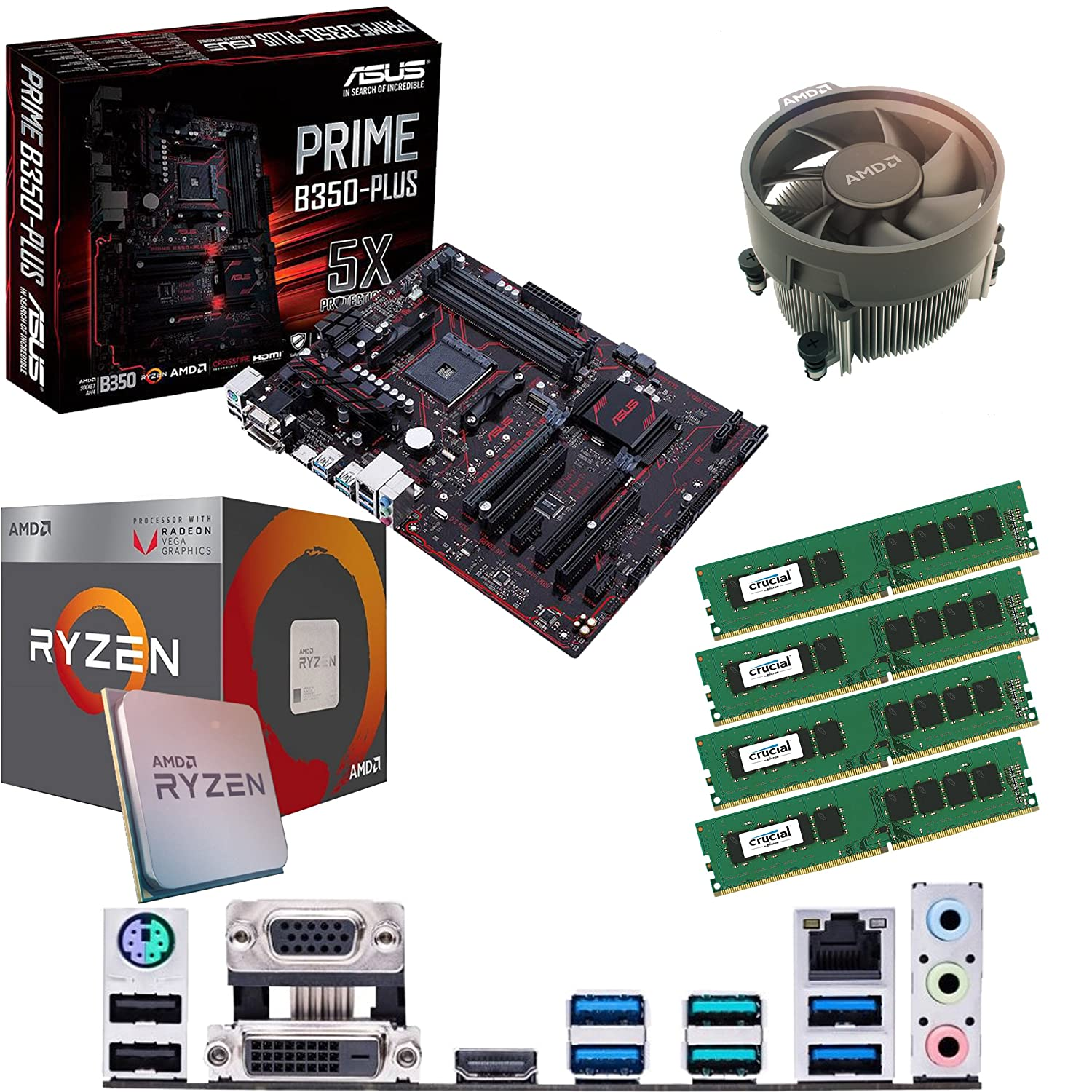 Components4All AMD Ryzen 5 2400G 3 6Ghz (Turbo 3 9Ghz) Quad Core Eight  Thread CPU, ASUS Prime B350-PLUS Motherboard & 8GB 3000Mhz Corsair DDR4 RAM