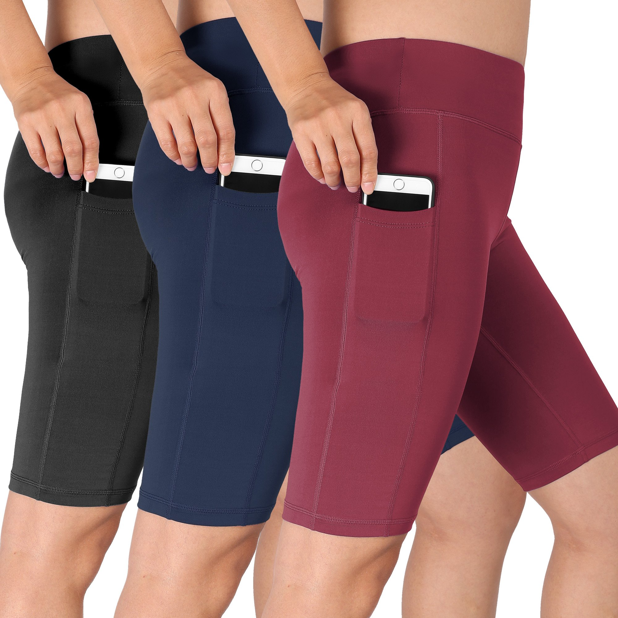 Cadmus Women's High Waist Athletic Running Workout Shorts with Pocket,3 Pack,06,Black,Navy Blue,Wine Red,X-Large