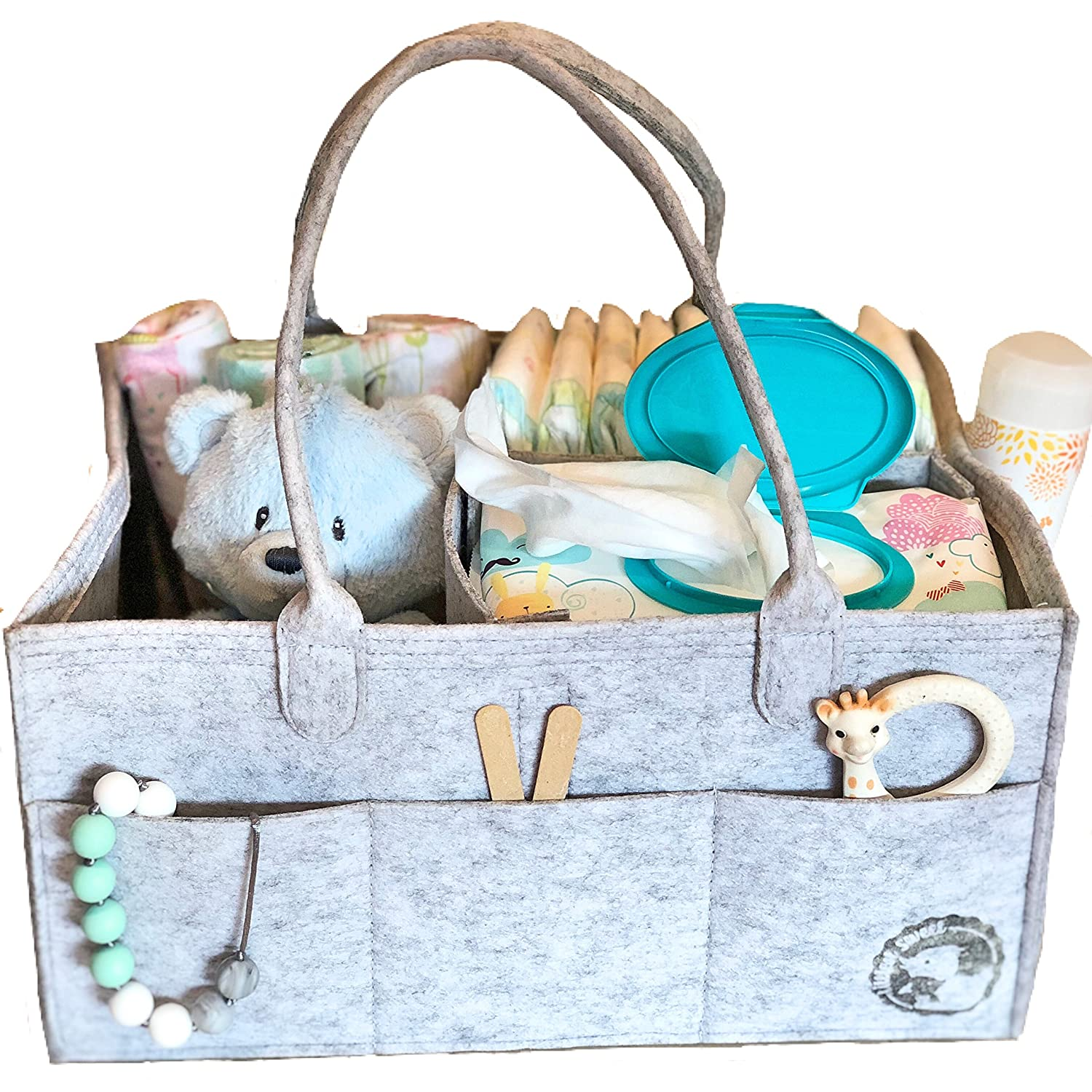 Diaper Caddy By Littlest Sweet: Nursery and Car Organizer Also Used to Hold Snacks Toys And Pacifiers Large Pockets And Compartments Changing Table Bag Baby Diaper Stacker Bin Bibs Bottles