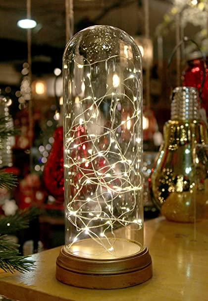glass display dome cloche with suspended led fairy lights 12 inches high