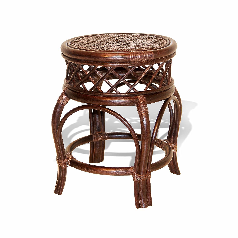 Amazon com ginger handmade rattan wicker stool fully assembled dark brown kitchen dining