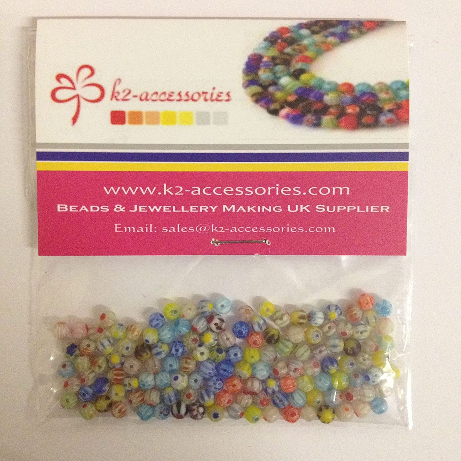 100 pieces 4mm Millefiori Glass Round Beads - Mixed - A5036 k2-accessories