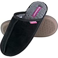 Dunlop - Ladies Winter Warm Fleece Lined Luxury Suede Slippers with Open Back