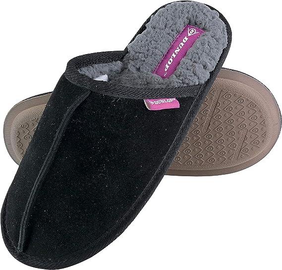 Ladies Dunlop Faux Fur Suede Leather Memory Foam Mule Slippers Size 3 4 5 6 7 8