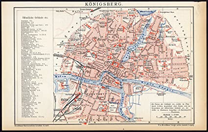 Amazon Com Antique Map Konigsberg Kaliningrad Russia Brockhaus 1893