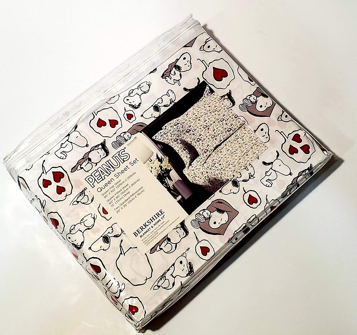 Snoopy Queen Bed Sheets Sheet Set One Fitted Sheet One Flat Sheet Two Pillowcases Machine Washable Tumble Dry Berkshire Blanket and Home Co