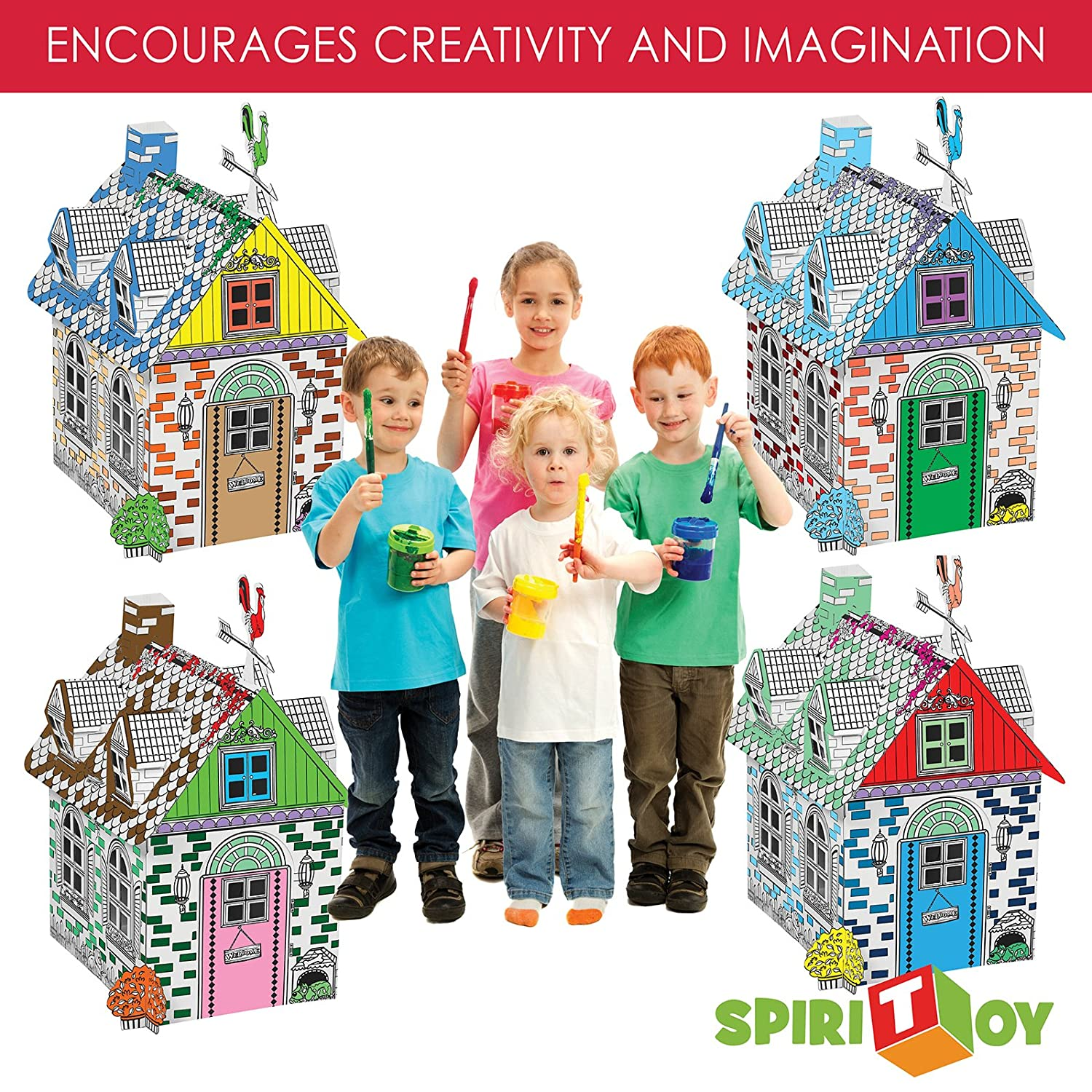 Easy Assembly Fast Fold My Little Farm House Cardboard Playhouse by Spiritoy BODYHEALT Inc MMRH-1 20 Inches Tall Corrugated Color In Coloring Play House for Kids