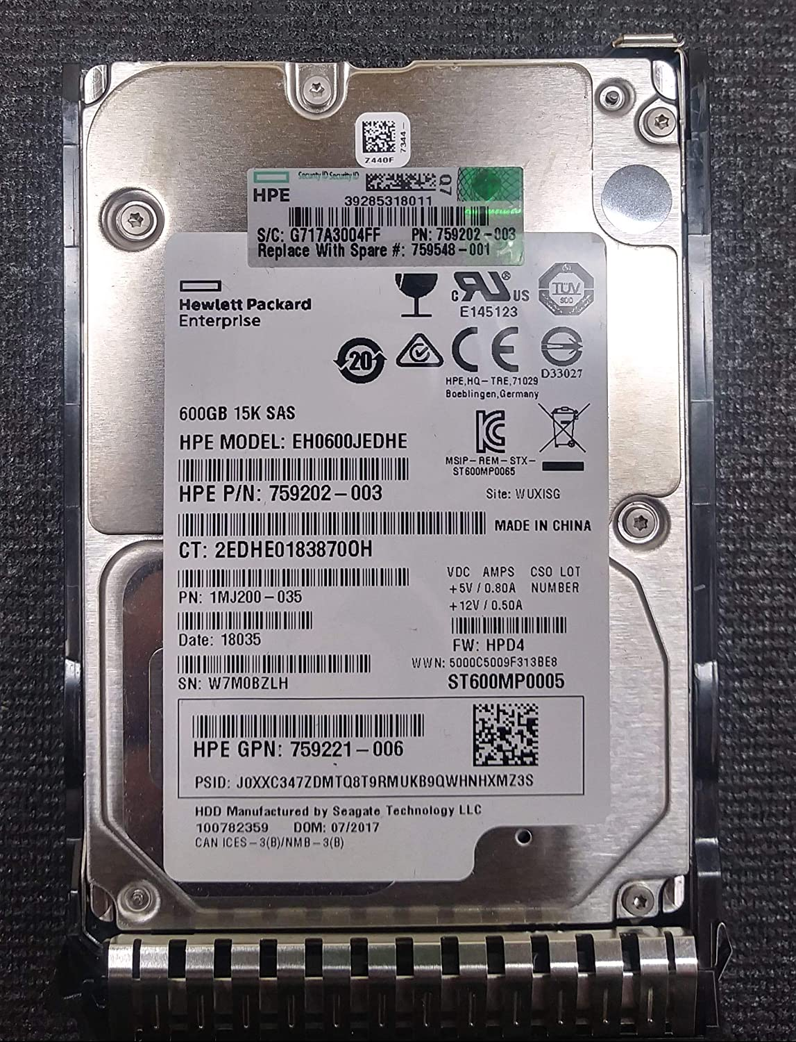 "HP 759548-001 600GB 15K 2.5"" 12GB/s SAS SC GEN 8 HDD"