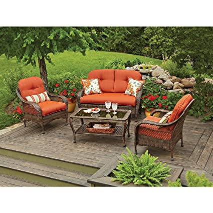 Elegant 4 Piece Patio Conversation Set With Loveseat, 2 Chairs, Table,  Includet