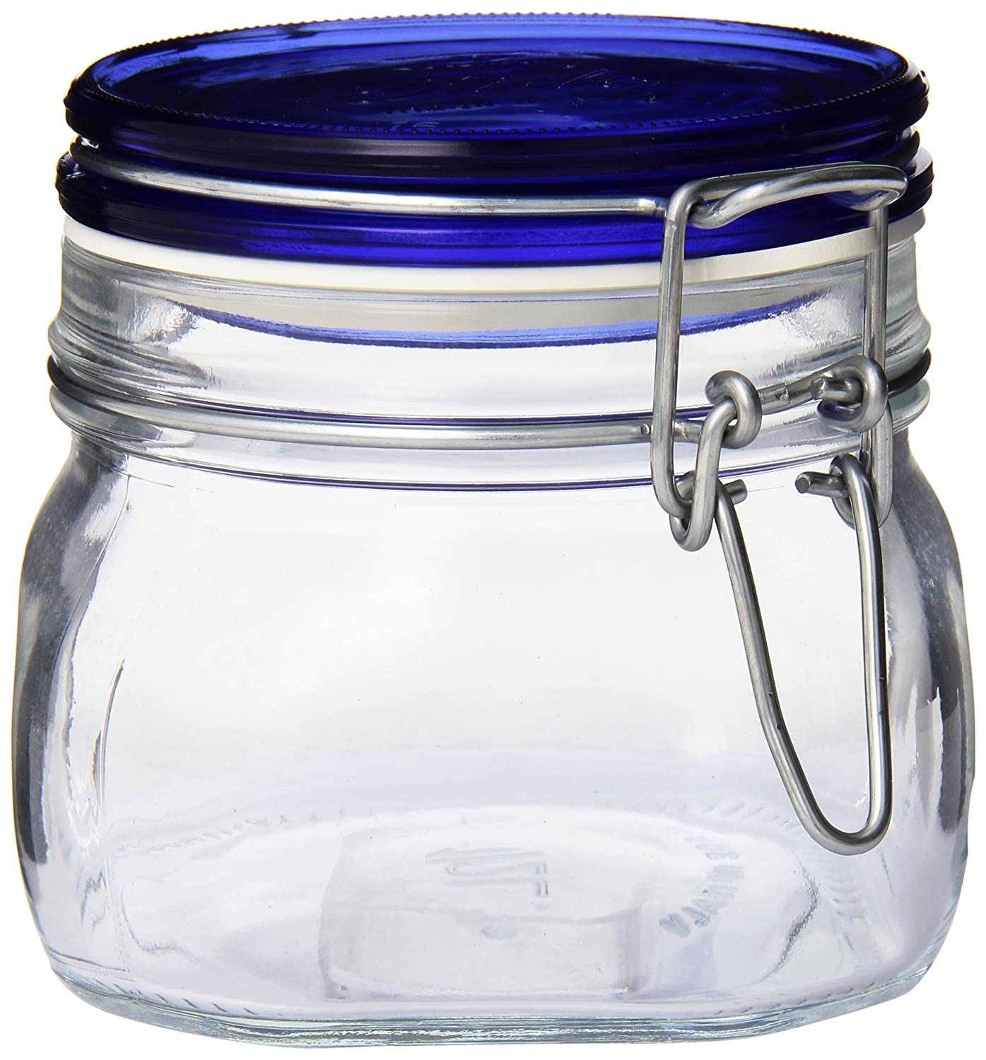 Bormioli Rocco Fido Square Jar with Blue Lid, 17-1/2-Ounce
