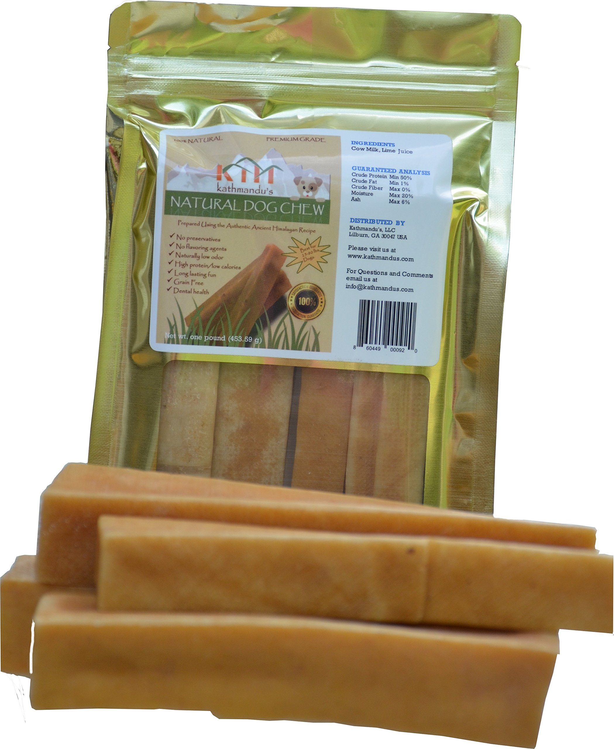 KATHMANDU'S Himalayan Yak Natural Dog Chew, Longlasting, Odorless, Splinterless, Smoked Hard Cheese Dog Treat from Pristine Himalayan Foothill, Proudly Packaged in USA, Small, Medium, Large, XLarge