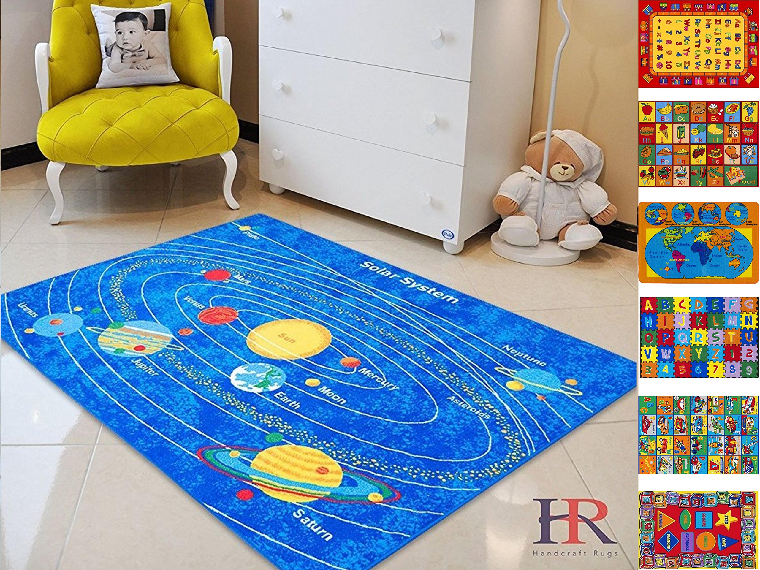 Handcraft Rugs Kids Rugs Educational.Play Time/Learning.Blue Solar System.Gel Back/Non-Slip.
