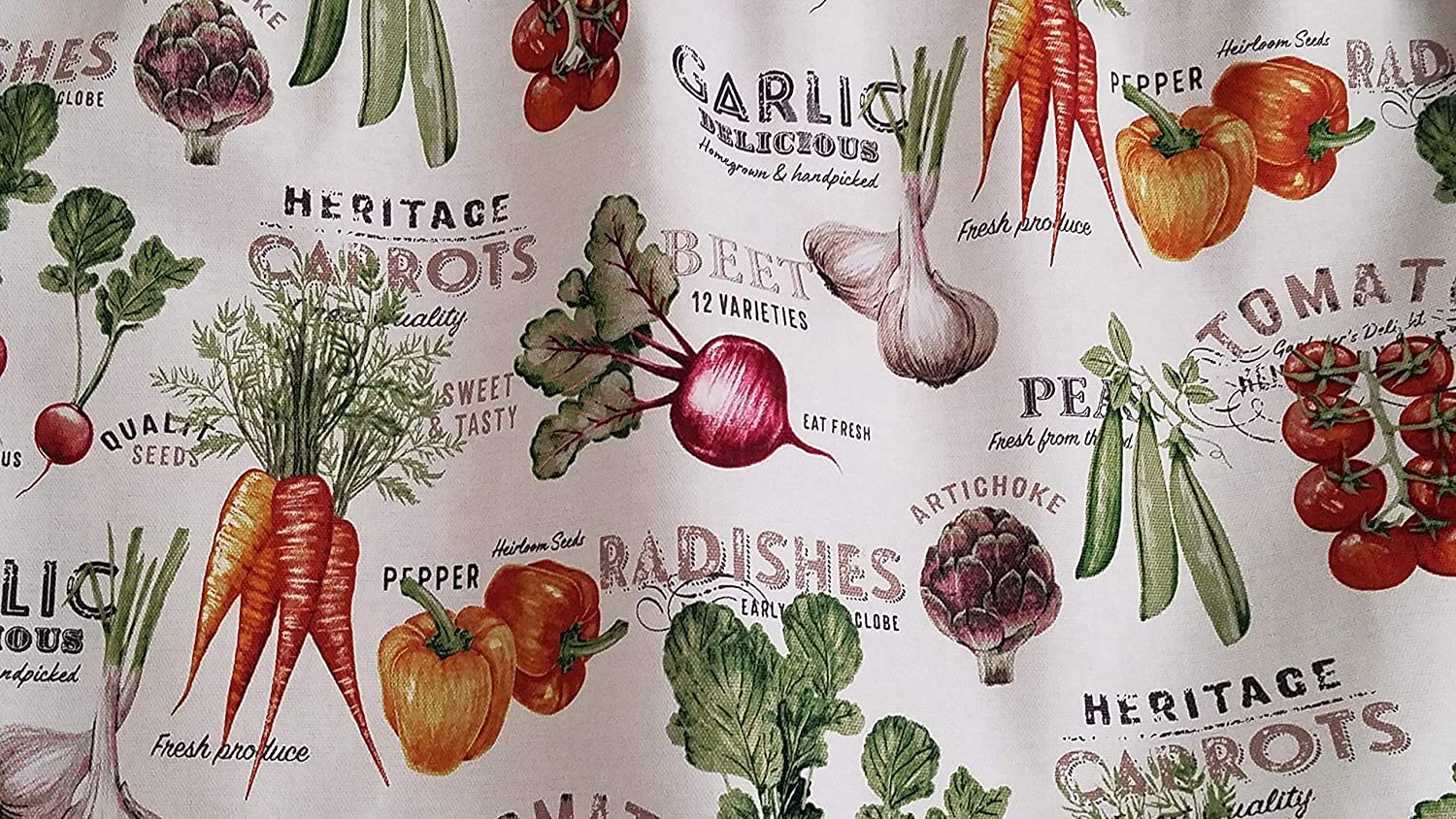 Vegetable Kitchen Curtain 42 43 Inches Wide X 15 Inches Long Kitchen Curtain Farm Themed Kitchen Curtain Farm Fresh Kitchen Curtain Bell Peppers Tomatoes Carrots White Kitchen Curtain Handmade Products Curtains Blinds Shutters