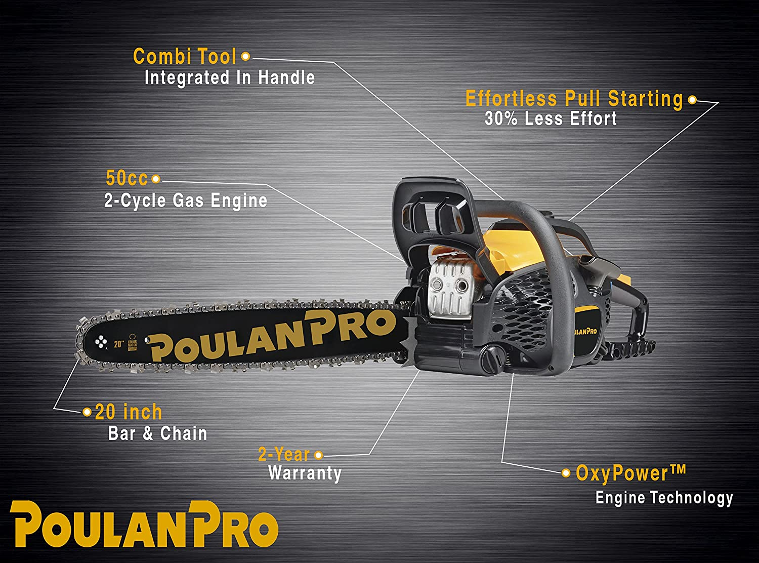 Poulan Pro 20 in. 50cc Gas Chainsaw