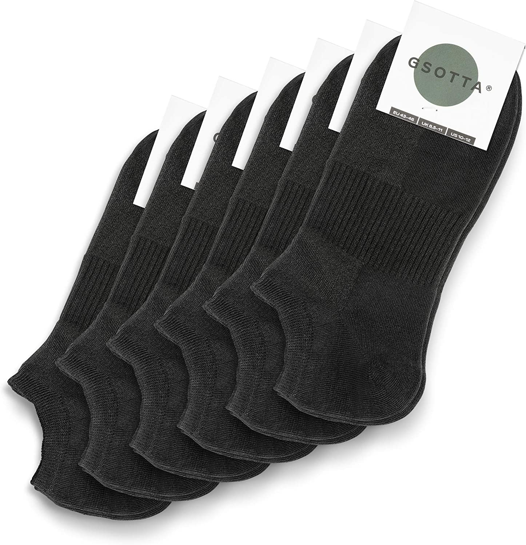 chaussettes pour femmes et hommes unisexe chaussettes en coton respirant bas invisibles avec une ceinture douce Noir GSOTTA 6-pack sneaker chaussettes