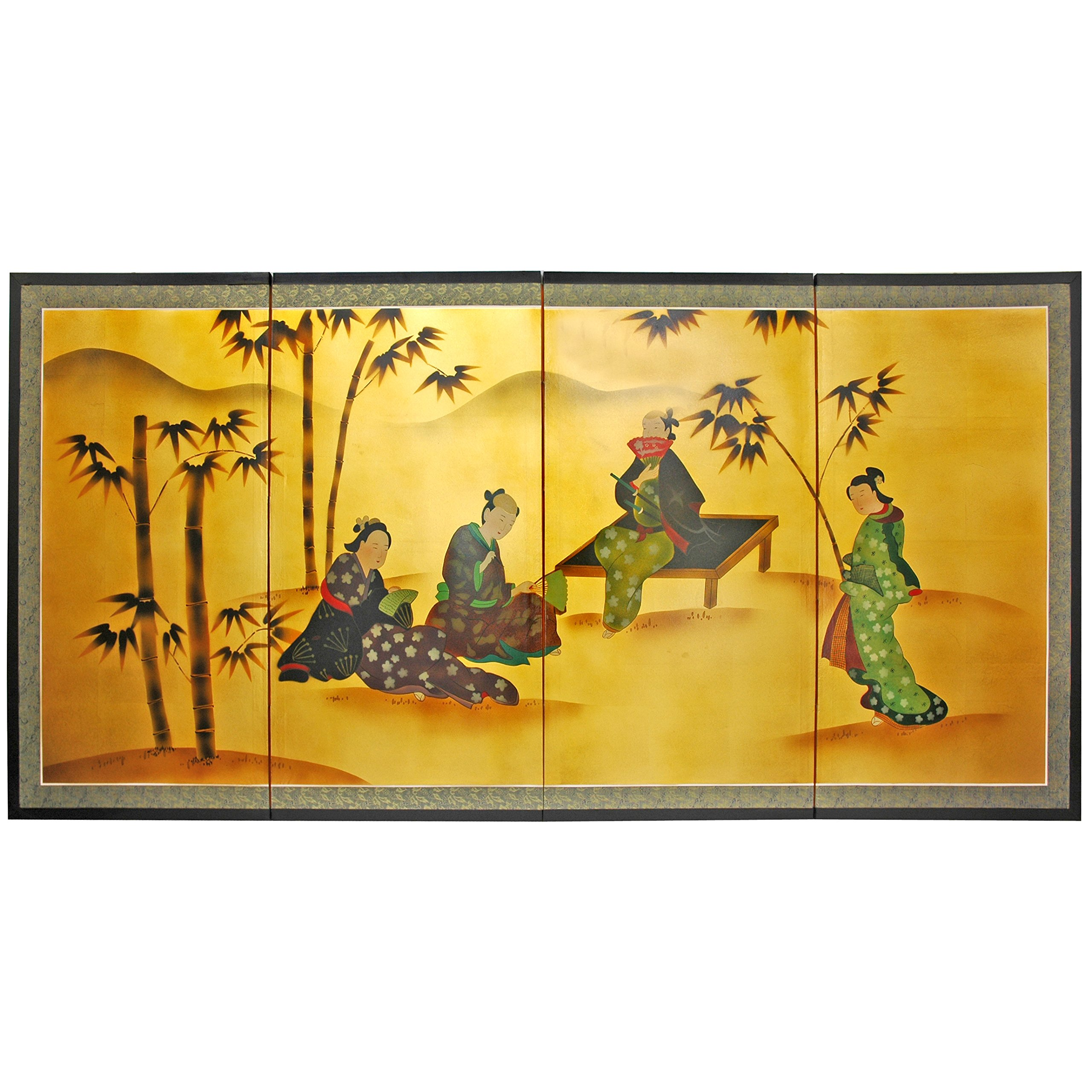 Oriental Furniture 36'' Ladies & Bamboo on Gold Leaf by ORIENTAL FURNITURE