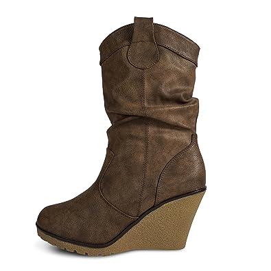 Damen Stiefel Leicht gefüttert Stiefeletten Keilabsatz Boots ST188  Schlupfstiefel High Heels (37, Braun) fdea325fe3
