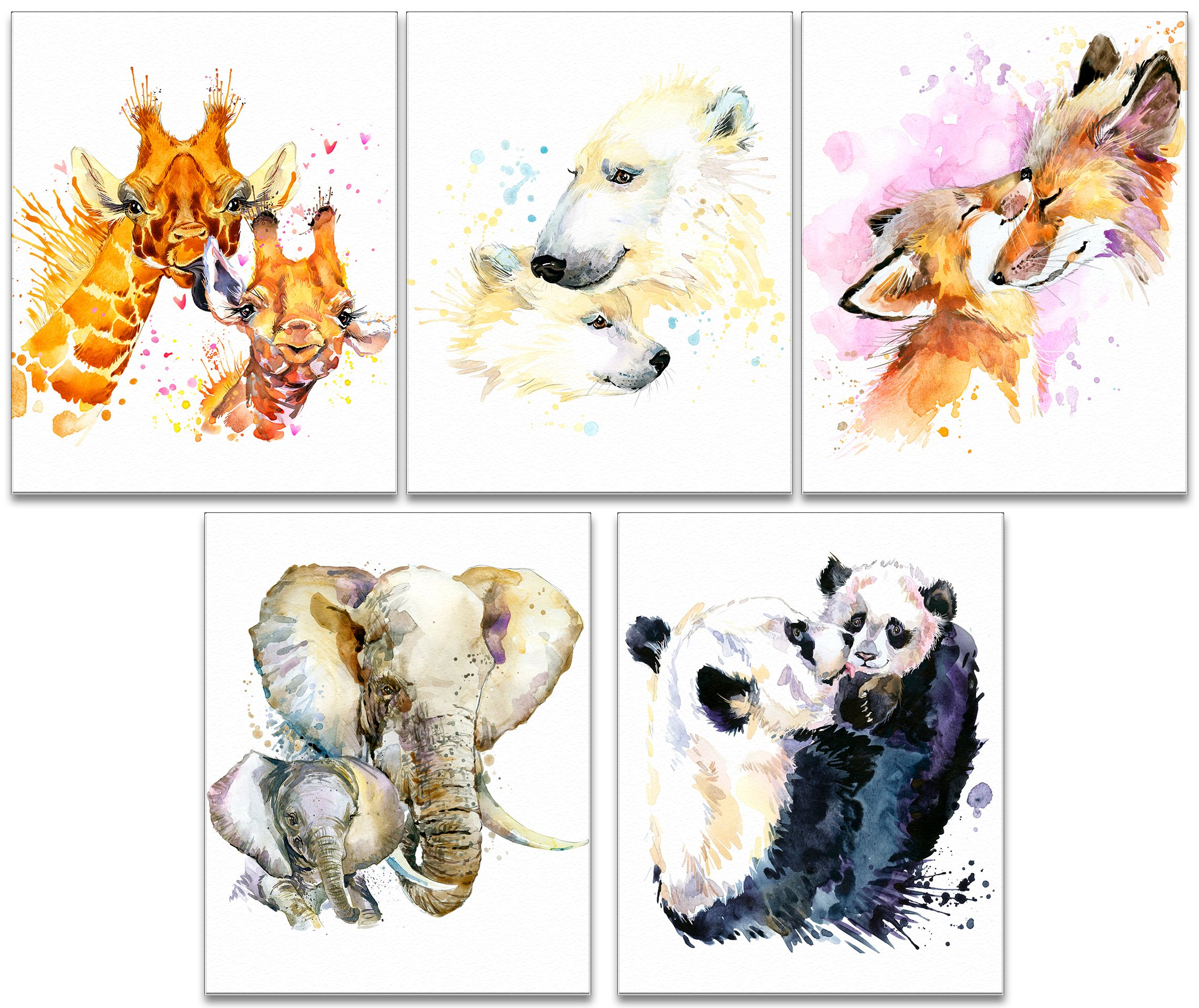 7Dots Art. Mom and baby. Watercolor Art Print, poster 8''x10'' on Fine Art thick Watercolor paper for childrens kids room, bedroom, bathroom. Wall art decor with Animals for boys, girls. (z6 Set of 5)