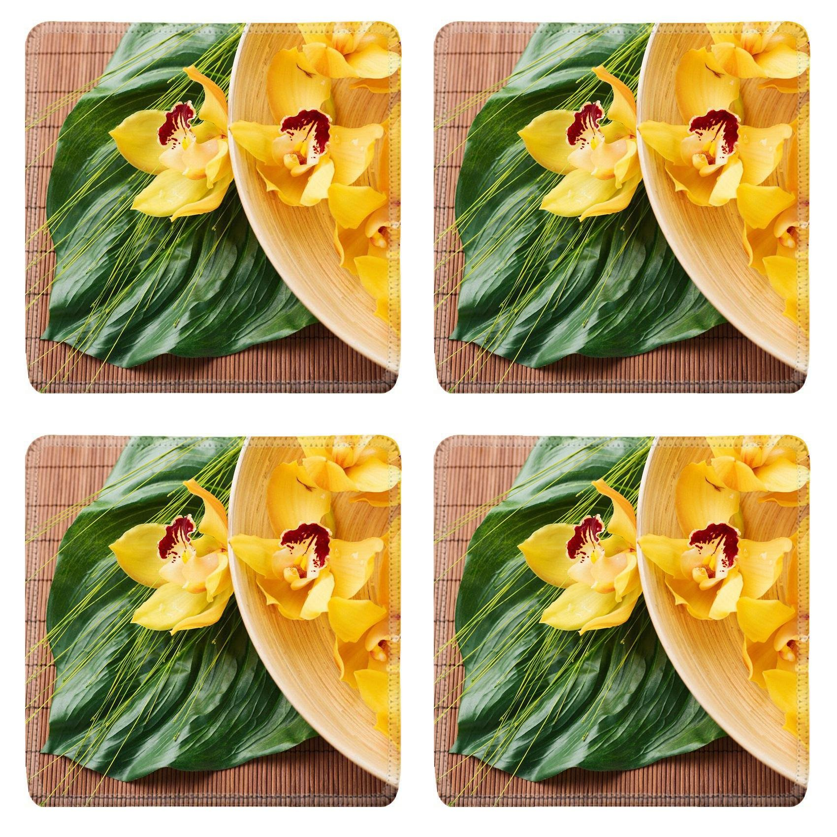 MSD Square Coasters Non-Slip Natural Rubber Desk Coasters design 25698161 spa heath and beauty concept orchid flowers in bowl with green leaf on mat