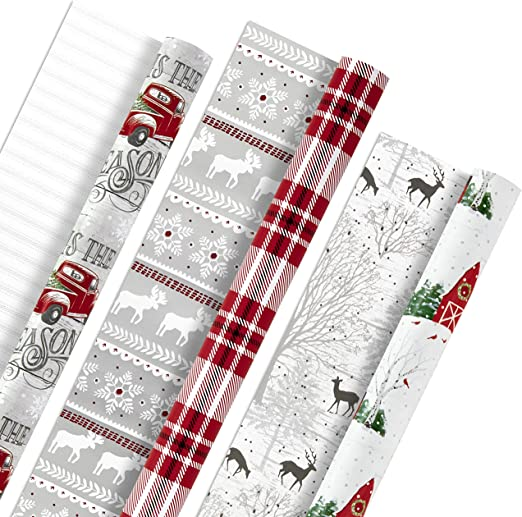 Christmas Xmas Wrapping Paper Gift Wrap Reindeer Tree Star Double Sided Festive