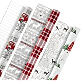 Hallmark Holiday Reversible Wrapping Paper Bundle, Rustic Christmas (Pack of 3, 120 sq. ft. ttl) Plaid, Barn, Red Truck, Moos