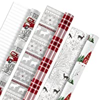 Hallmark Holiday Reversible Wrapping Paper Bundle, Rustic Christmas (Pack of 3, 120 sq. ft. ttl) Plaid, Barn, Red Truck, Moose, Woodland Scenes