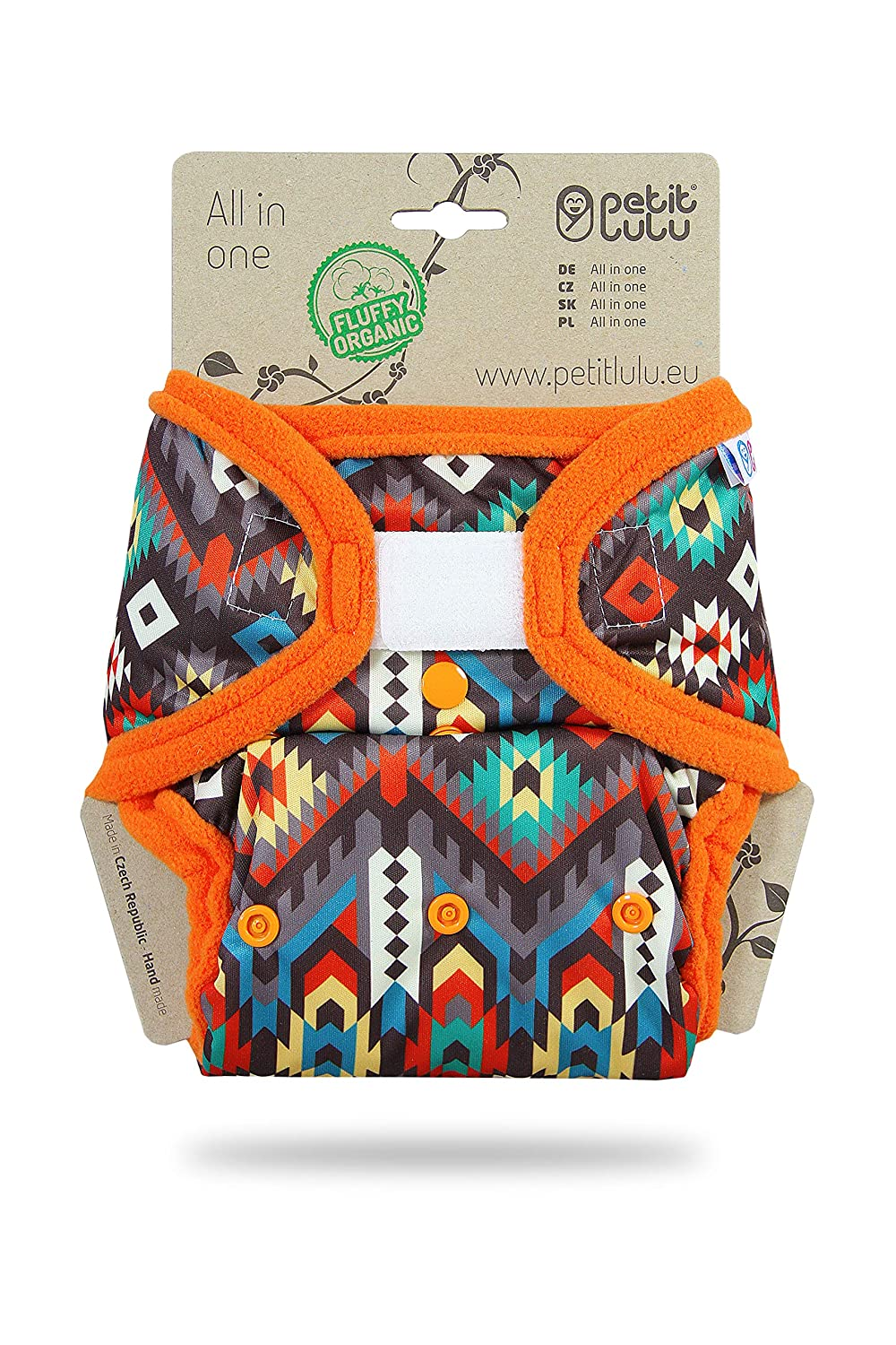 Petit Lulu All-in-ONE Pocket Nappy | AIO | Hook&Loop | Fluffy Organic | Reusable & Washable | Made in Europe (Prehistoric Times)